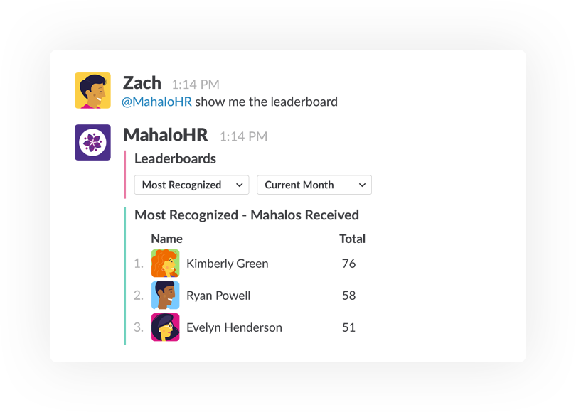 Employee recognition leaderboard within Slack