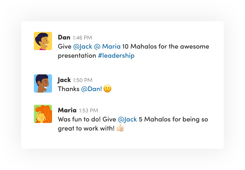 Employee recognition within Slack